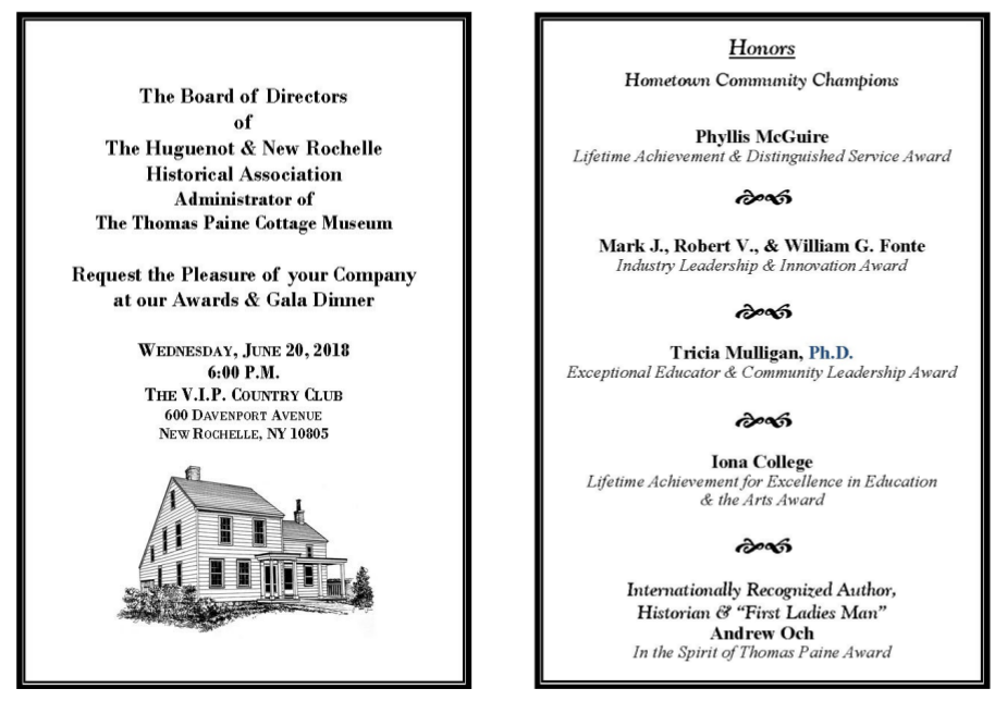 Thomas Paine Gala Dinner Invitation Image